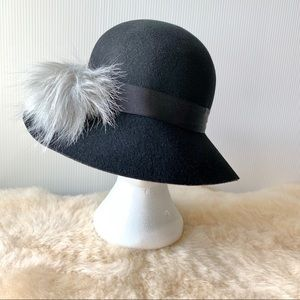 Target A.N.D. NEW Cloche hat Wool Black with gray